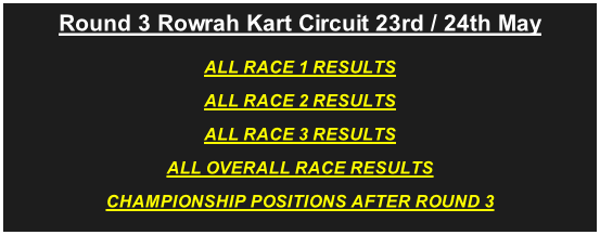 Round 3 Rowrah Kart Circuit 23rd / 24th May  ALL RACE 1 RESULTS ALL RACE 2 RESULTS ALL RACE 3 RESULTS ALL OVERALL RACE RESULTS CHAMPIONSHIP POSITIONS AFTER ROUND 3
