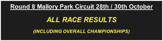 Round 8 Mallory Park Circuit 28th / 30th October ALL RACE RESULTS (INCLUDING OVERALL CHAMPIONSHIPS)