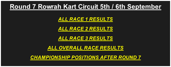 Round 7 Rowrah Kart Circuit 5th / 6th September ALL RACE 1 RESULTS ALL RACE 2 RESULTS ALL RACE 3 RESULTS ALL OVERALL RACE RESULTS CHAMPIONSHIP POSITIONS AFTER ROUND 7