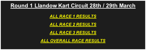 Round 1 Llandow Kart Circuit 28th / 29th March ALL RACE 1 RESULTS ALL RACE 2 RESULTS ALL RACE 3 RESULTS ALL OVERALL RACE RESULTS